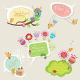 Speech bubbles set with funny birds and flowers