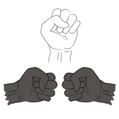 Three clenched fist hand vector illustration