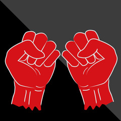 Clenched fist hand vector. Victory, revolt concept