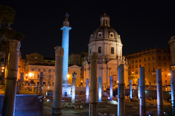 Trajan's Forum at Night. Rome, Italy.