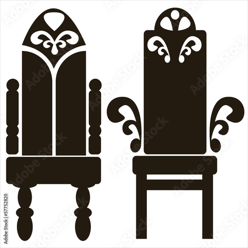 furniture of throne icons isolated on white background