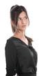 Attraktive hübsche Frau blickt zur Seite - isoliert schwarz-weiß