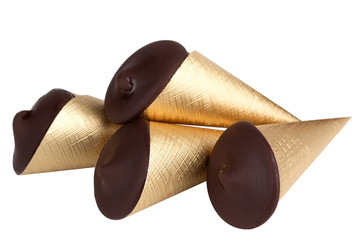 chocolate cones isolated on white background