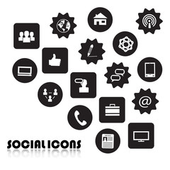 Set of Icons of social network isolated on white background