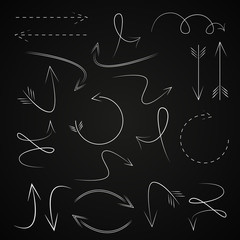 Arrow Icons Set - Isolated On Black Background - Vector