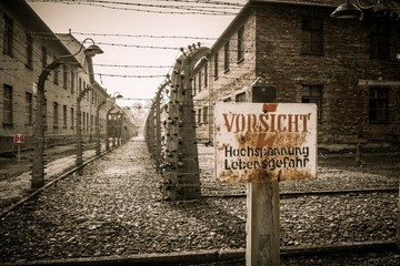 Electric fence in  Nazi camp Auschwitz I, Poland