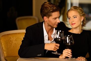 Beautiful couple in luxury interior