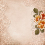Vintage gorgeous  background with lace and roses