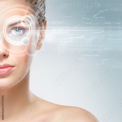 An attractive woman with a laser hologram on her eyes