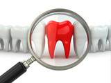 Search aching tooth in row of healthy teeth.