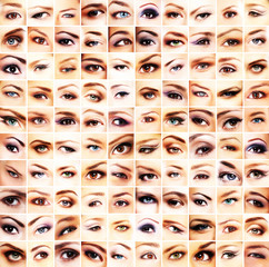 A collection of many different and beautiful female eyes