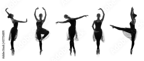 Set of different ballet poses. Black and white traces on white