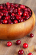 Cranberry in wooden bowl