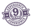 Grunge rubber stamp with the text 9 Years Experience