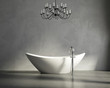 Minimal  contemporary grey bathroom with bathtub and chandellier - 57757214