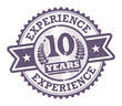 Grunge rubber stamp with the text 10 Years Experience
