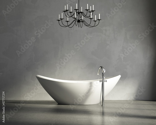 Minimal  contemporary grey bathroom with bathtub and chandellier