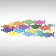 векторная стая рыб,иконка