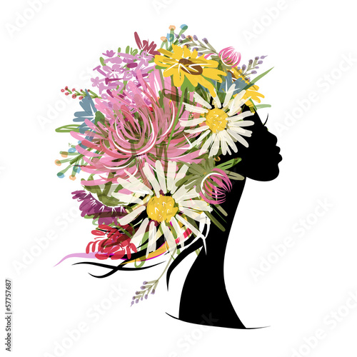 Poster Bloemen vrouw Female portrait with floral hairstyle for your design