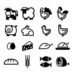 żywność - zestaw ikon wektorowych