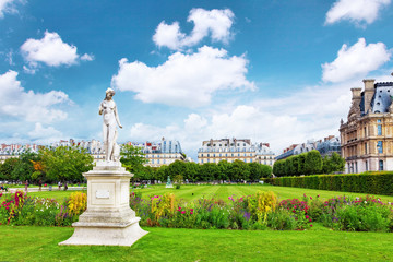 Sculpture and statues in Garden of Tuileries.
