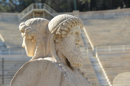 Marble statue with 2 persons Kalimarmaro Stadium Athens Greece