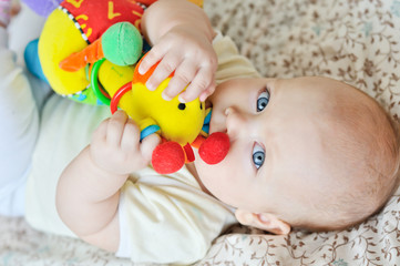 baby biting a toy