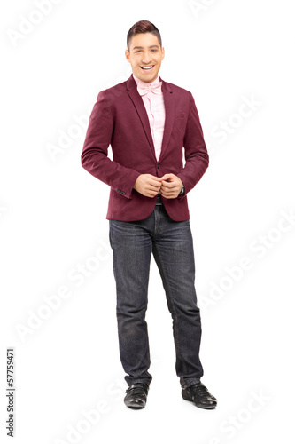 Full length portrait of a handsome male model posing