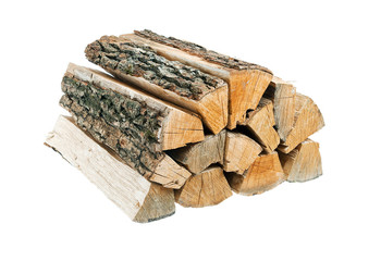 Bundle of firewood. Isolated.