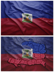 Haiti flag and map collage