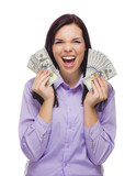 Thrilled Mixed Race Woman Holding New One Hundred Dollar Bills poster