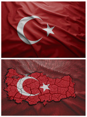 Turkey flag and map collage