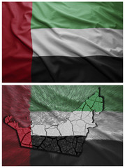 United Arab Emirates flag and map collage