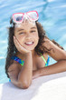 African American Mixed Race Girl Child In Swimming Pool