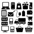 Internet shopping business icons set, isolated silhouettes