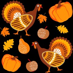 Fall thanksgiving seamless background with turkey, pumpkin