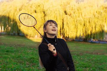 girl and badminton