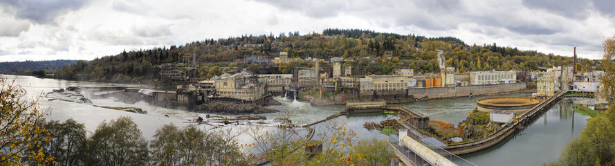 Hydro Power Plant at Willamette Falls in Autumn