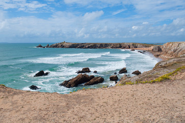 cliffs and ocean on the coast of Quiberon, France