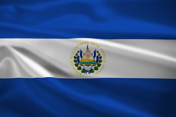 El Salvador flag blowing in the wind