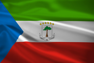 Equatorial Guinea flag blowing in the wind