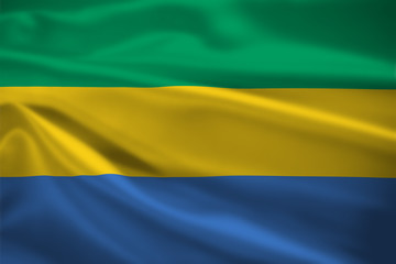 Gabon flag blowing in the wind