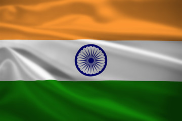 India flag blowing in the wind