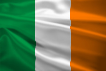 Ireland flag blowing in the wind
