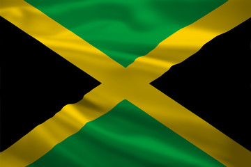 Jamaica flag blowing in the wind