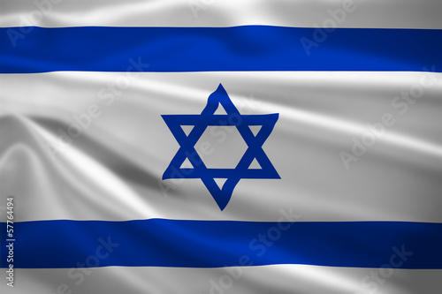 Israel flag blowing in the wind