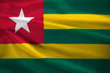 Togo flag blowing in the wind