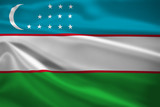Uzbekistan flag blowing in the wind
