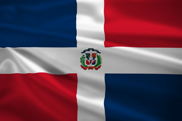 The Dominican Republic flag blowing in the wind