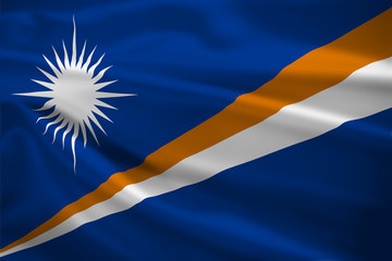 Marshall Islands flag blowing in the wind